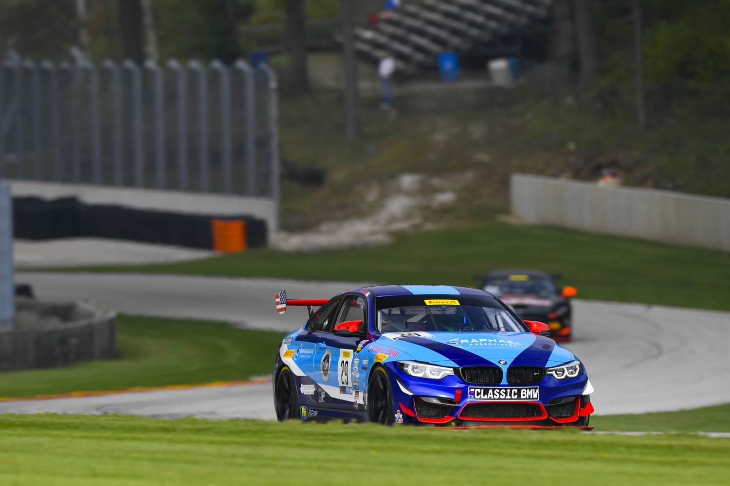 #29 BMW M4 GT4 of Justin Raphael and Stevan McAleer with Classic BMW  Road America World Challenge America , Elkhart Lake WI | Gavin Baker/SRO