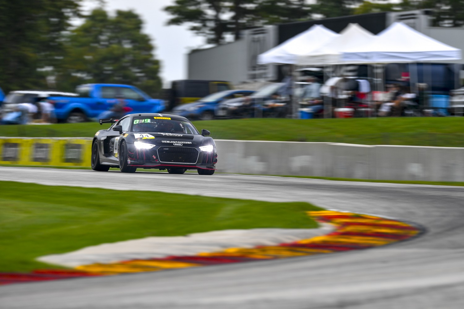 #44 Audi R8 LMS GT4 of Greg Palmer  with Kelly-Moss/Photon Motorsports  Road America World Challenge America , Elkhart Lake WI | Gavin Baker/SRO