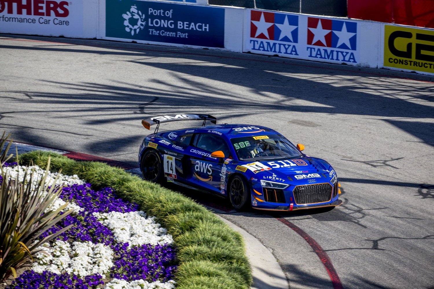 #14 Audi R8 LMS GT4 of James Sofronas, Streets of Long Beach, Long Beach, CA.  | Brian Cleary/SRO