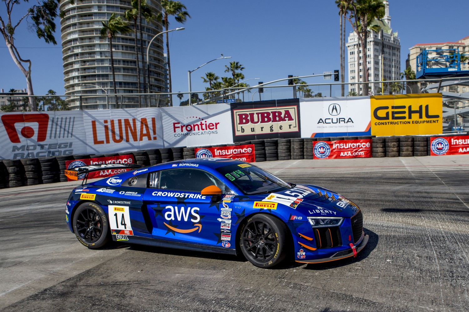#14 Audi R8 LMS GT4 of James Sofronas, Streets of Long Beach, Long Beach, CA.  (Photo by Ken Weisenberger)  | Brian Cleary/BCPix.com