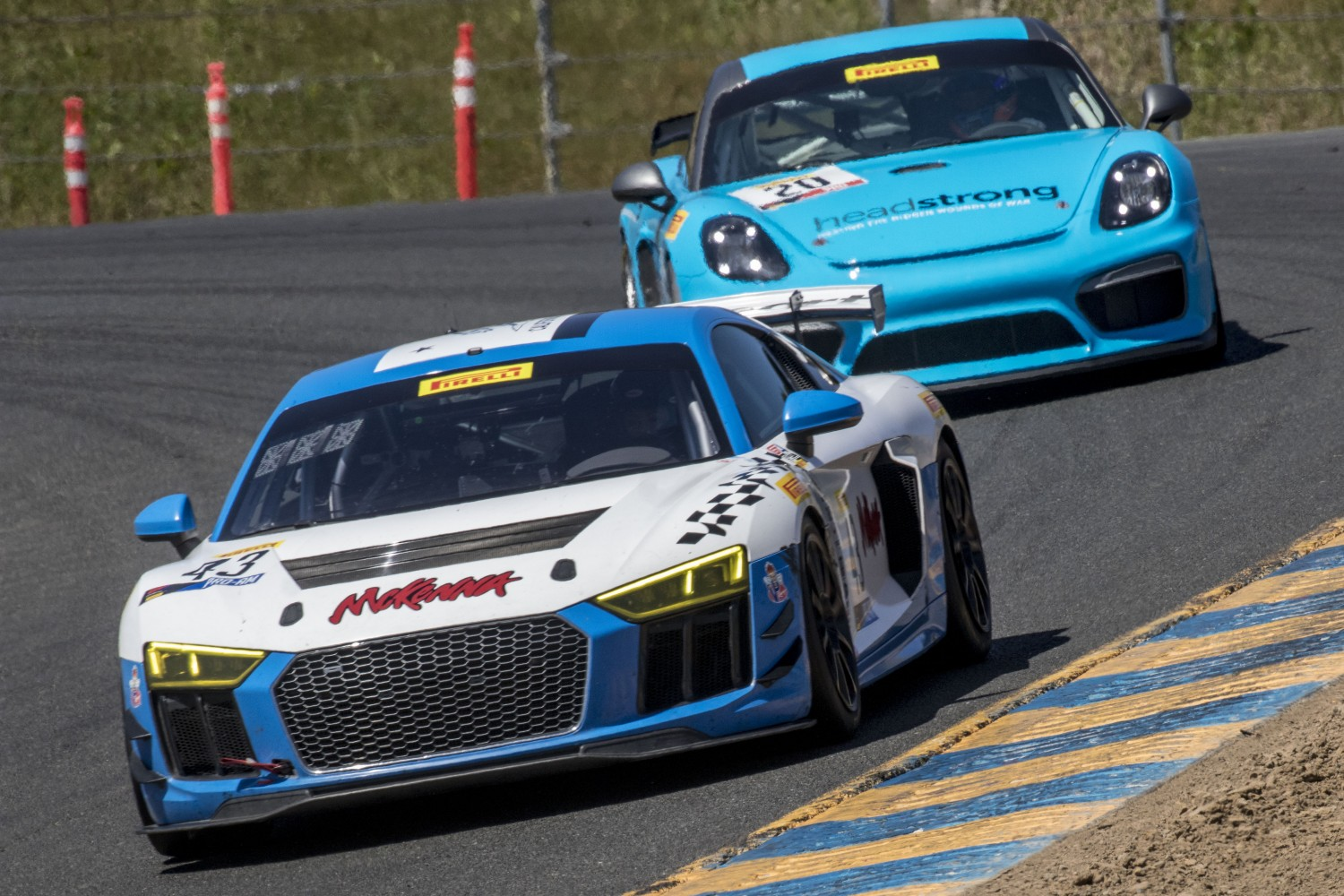 #43, Rearden Racing, Audi R8 LMS GT4, Sarah Cattaneo and Owen Trinkler, CRG LLC, SRO at Sonoma Raceway, Sonoma CA  | Brian Cleary/SRO