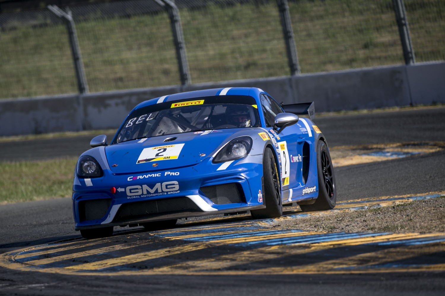 #2, GMG Racing, Porsche 718 Cayman CS MR, Jason Bell, Highway Systems, Osteria Kitchen + Bar, Gridsport, Franklin, SRO at Sonoma Raceway, Sonoma CA  | Brian Cleary/SRO