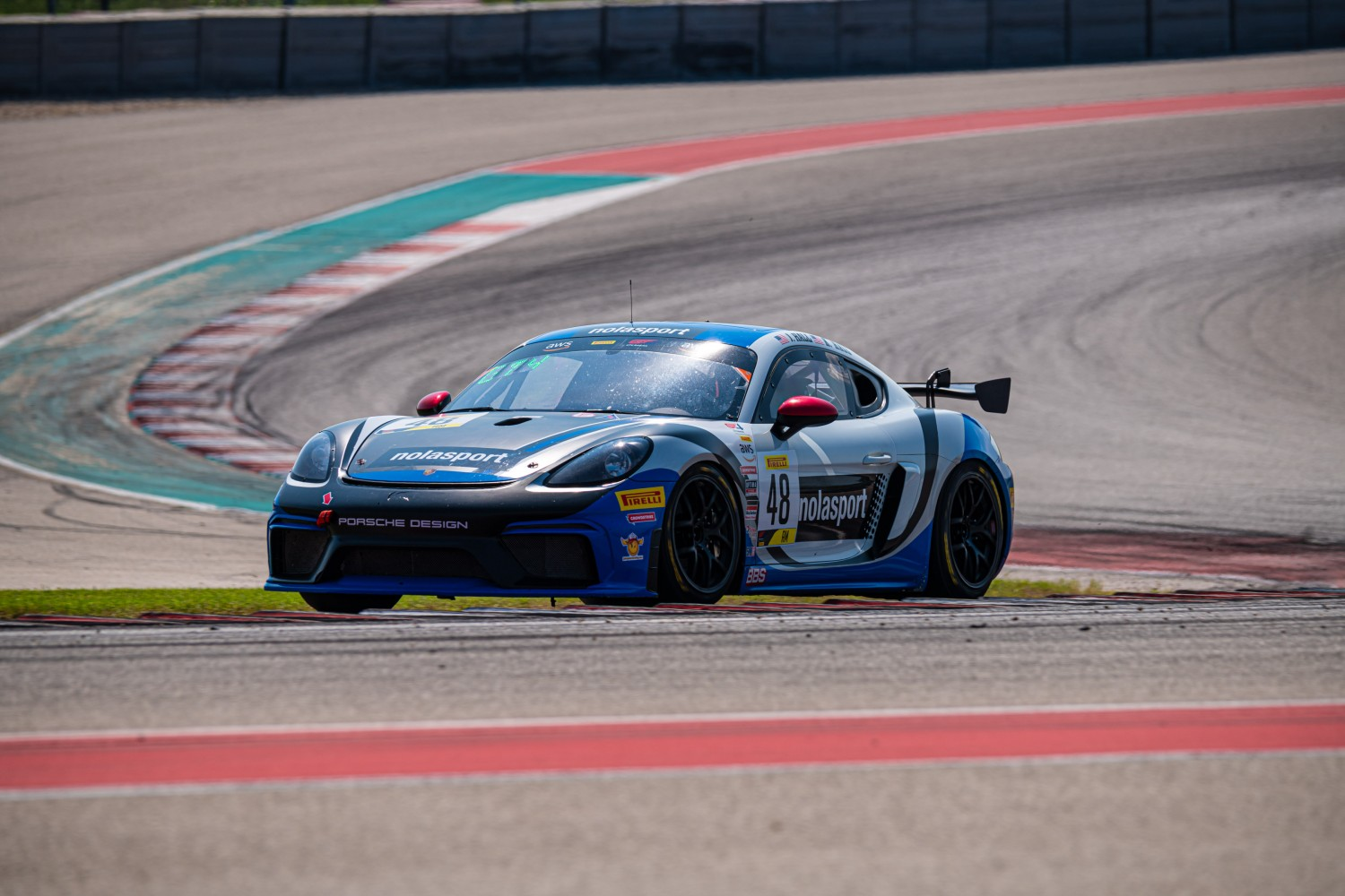 #48 Porsche 718 Cayman GT4 of Jason Hall, NOLASPORT, GT 4 Sprint Am, SRO America, Circuit of the Americas, Austin TX, September 2020.  | SRO Motorsports Group