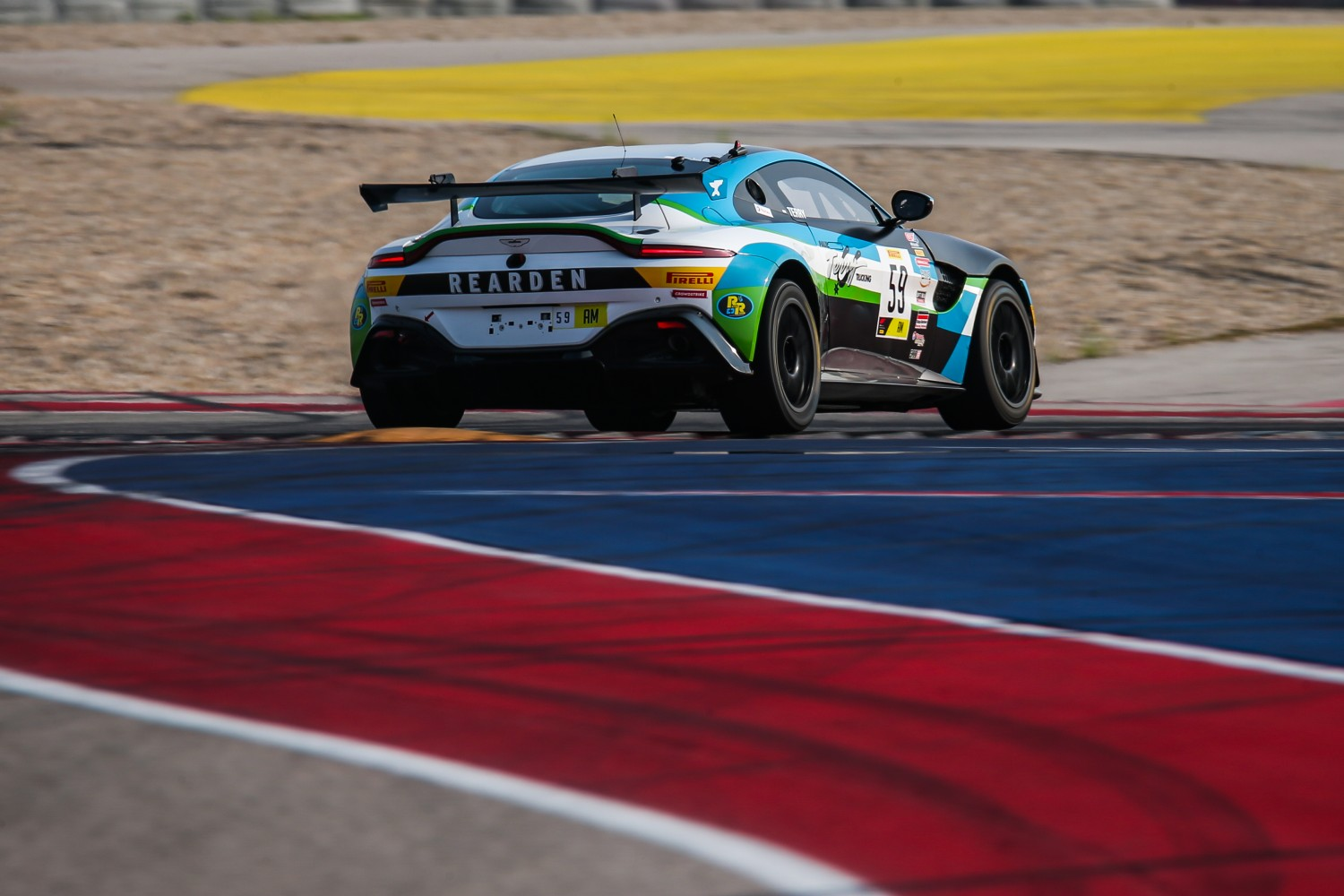 #59 Aston Martin Vantage GT4 of Paul Terry, Rearden Racing, GT4 Sprint, Am, SRO America, Circuit of the Americas, Austin TX, September 2020.  | Sarah Weeks/SRO