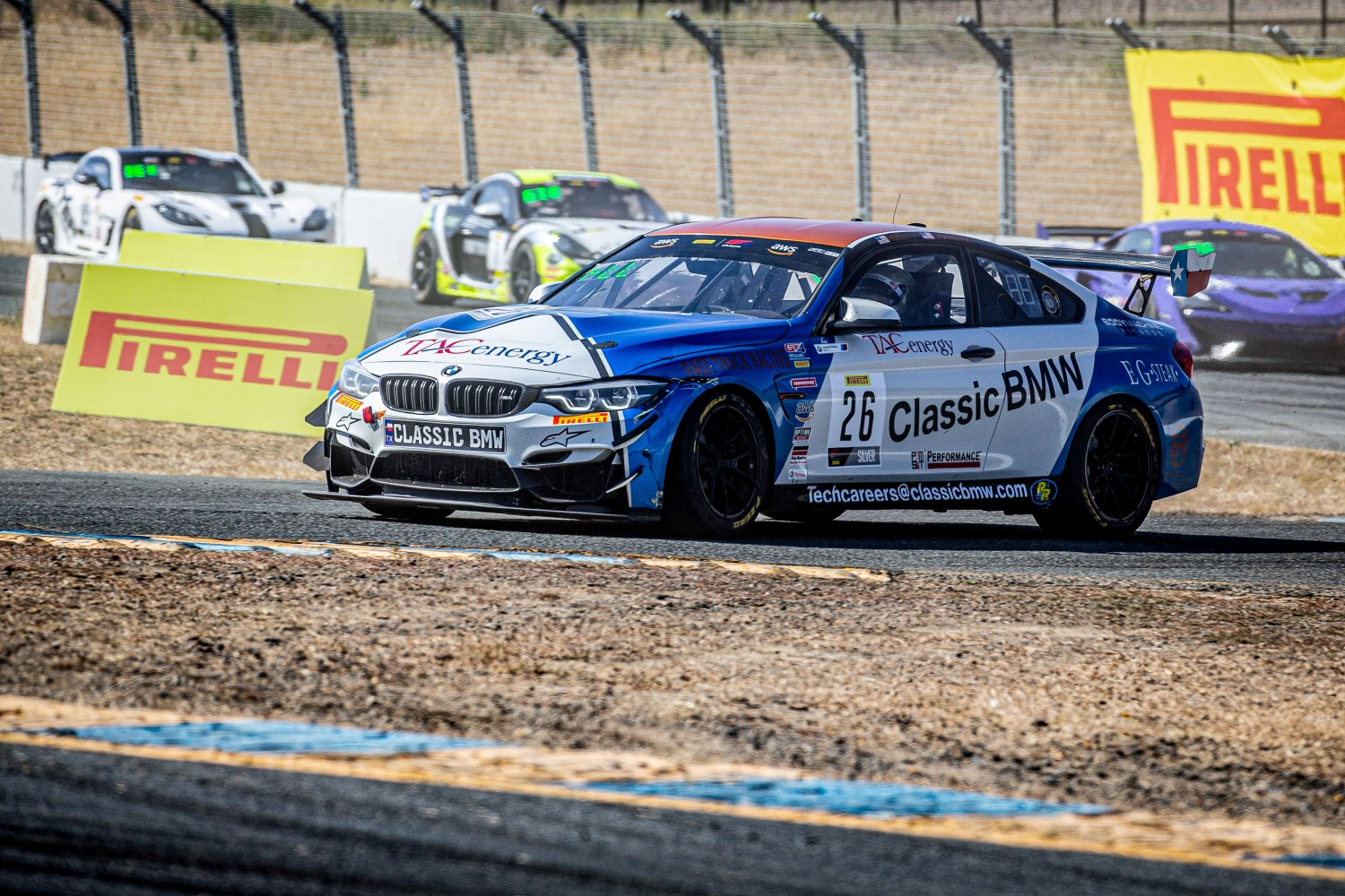 #26 BMW M4 GT4 of Chandler Hull and Toby Grahovec, Classic BMW, GT4 SprintX Pro-Am, 2020 SRO Motorsports Group - Sonoma Raceway, Sonoma CA  | Brian Cleary