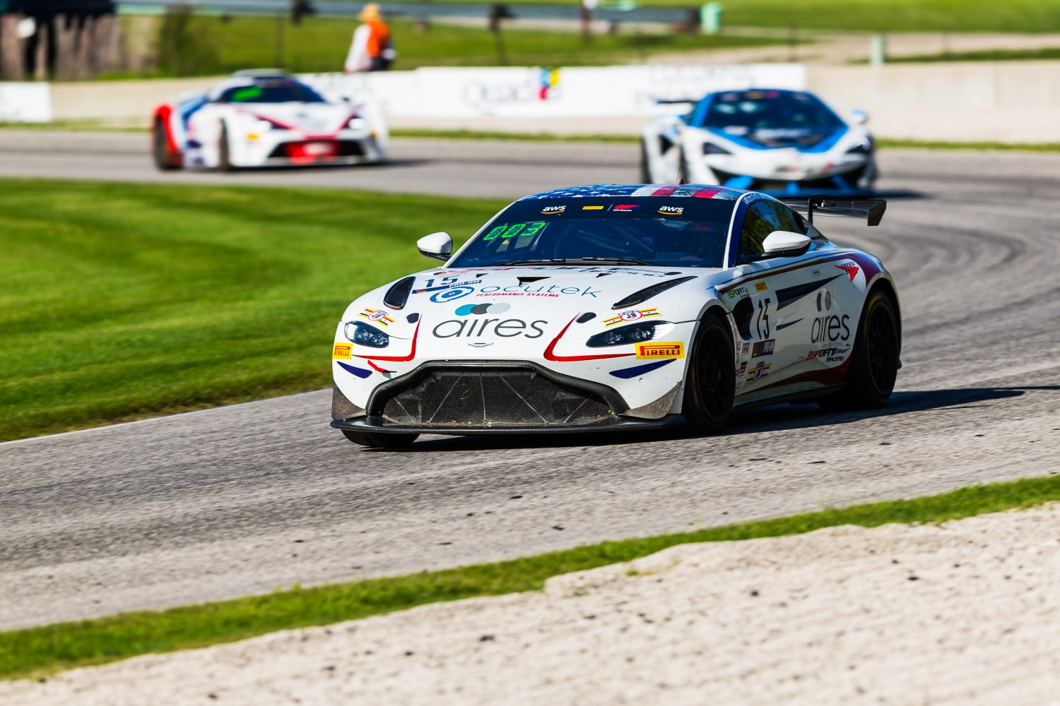 #15 Aston Martin Vantage GT4 of Bryan Putt and Kenton Koch, Bsport Racing, GT4 SprintX Pro-Am, ]SRO America, Road America,  Elkhart Lake,  WI, July 2020. | Fabian Lagunas/SRO