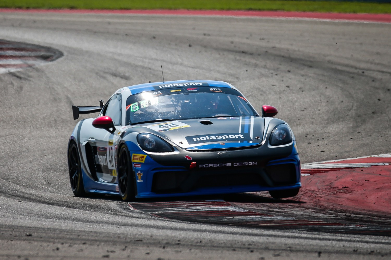#48 Porsche 718 Cayman GT4 of Jason Hall, NOLASPORT, GT 4 Sprint Am, SRO America, Circuit of the Americas, Austin TX, September 2020.  | Sarah Weeks/SRO