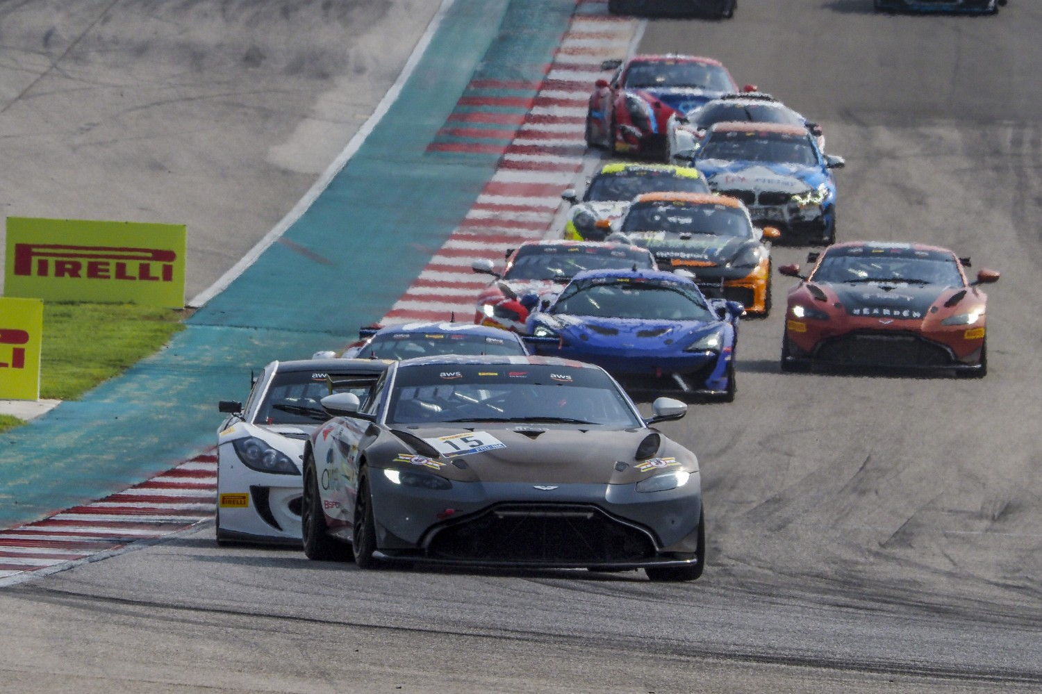 #15 Aston Martin Vantage GT4 of Bryan Putt and Kenton Koch, Bsport Racing, GT4 SprintX Pro-Am, SRO America, Circuit of the Americas, Austin TX, September 2020.  | Brian Cleary/SRO