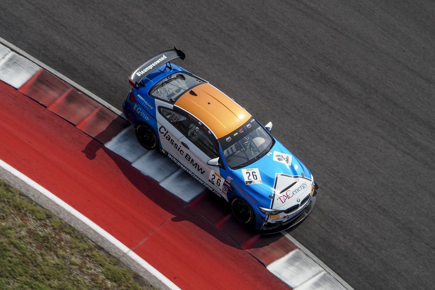 #26 BMW M4 GT4 of Chandler Hull and Toby Grahovec, Classic BMW, GT4 SprintX Pro-Am, SRO America, Circuit of the Americas, Austin TX, September 2020.  | Brian Cleary/SRO