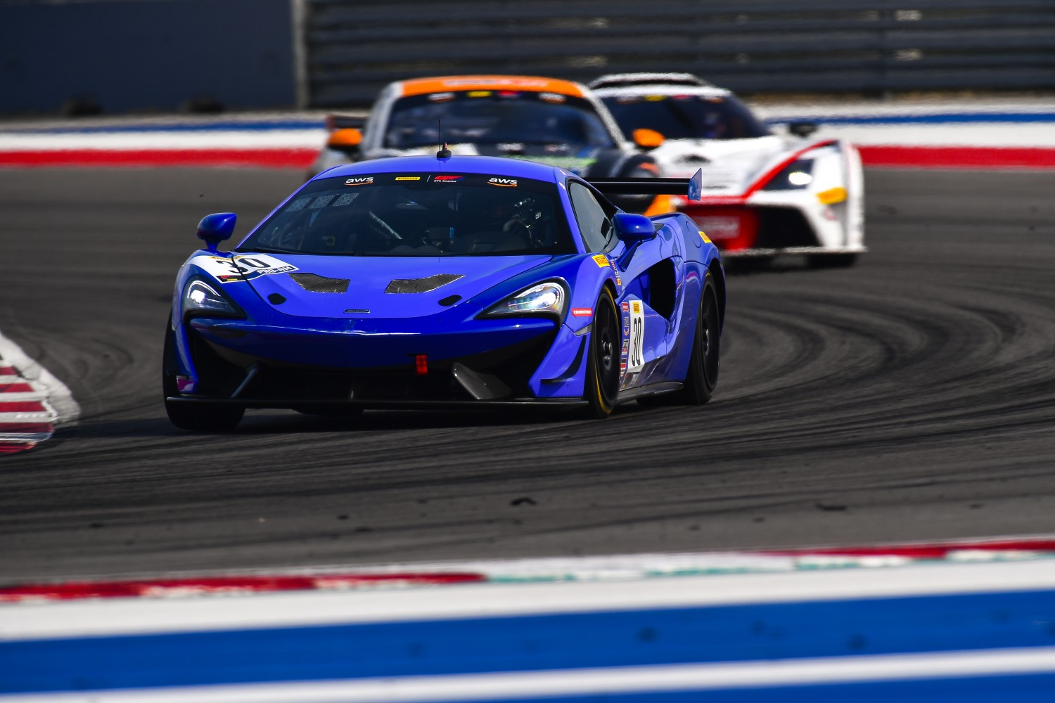 #30 McLaren 570s GT4 of Erin Vogel and Michael Cooper,  Flying Lizard Motorsports, GT4 SprintX Pro-Am,    2020 SRO Motorsports Group - COTA2, Austin TX Photographer: Gavin Baker/SRO | © 2020 Gavin Baker