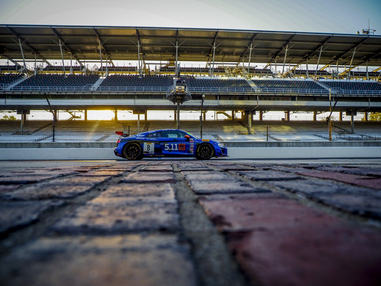 #8 Audi R8 LMS GT4 of Elias Sabo and Andy Lee, GMG Racing, GT4 SprintX Pro- Am, SRO, Indianapolis Motor Speedway, Indianapolis, IN, September 2020.  | Brian Cleary/SRO
