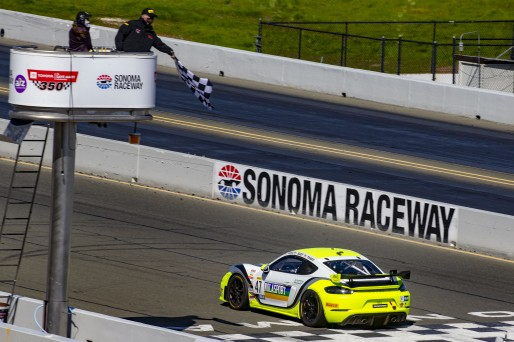 #47 Porsche 718 Cayman GT4 CLUBSPORT MR of Matt Travis and Jason Hart, NOLASPORT, Pro-Am, Pirelli GT4 America, SRO America Sonoma Raceway, Sonoma, CA, March 2021.